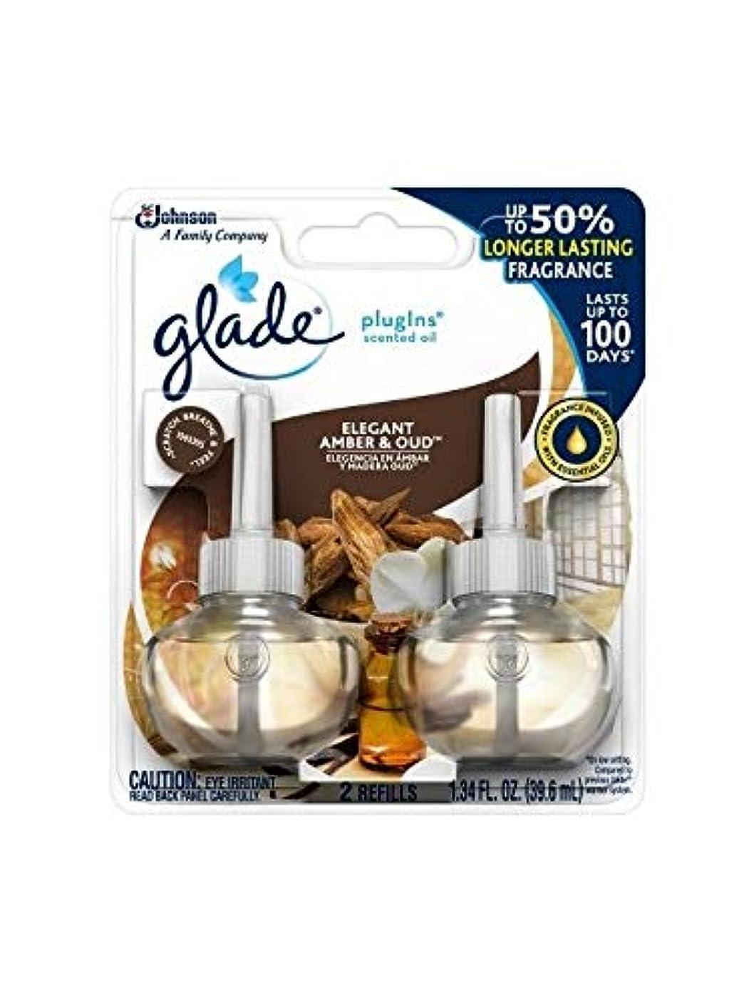 減衰頑張る箱【glade/グレード】 プラグインオイル 詰替え用リフィル(2個入り) エレガントアンバー&ウード Glade Plugins Scented Oil Elegant Amber & Oud 2 refills 1.34oz(39.6ml) [並行輸入品]