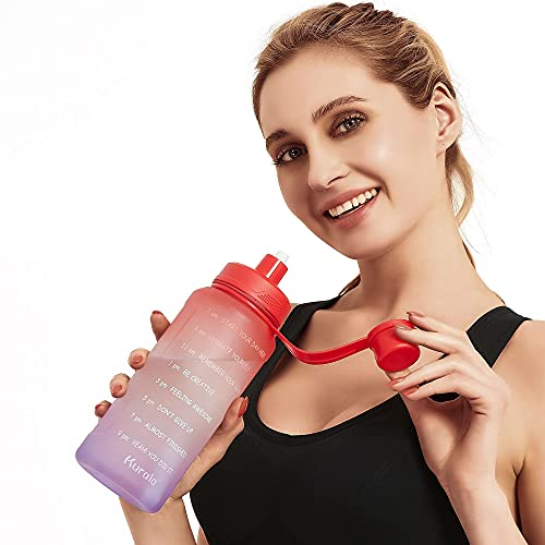 32 oz Motivational Water Bottle with Time Marker Reminder & Straw, Leak-proof No BPA Hydration...