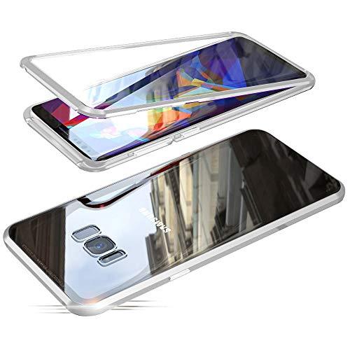 Jonwelsy Funda para Samsung Galaxy S8 Plus, Adsorción Magnética Parachoques de Metal con 360 Grados Protección Case Cover Transparente Ambos Lados Vidrio Templado Cubierta para Samsung S8+ (Plata)