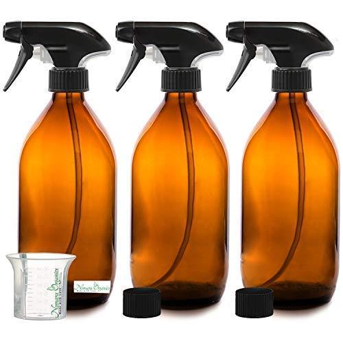 Nomara Organics® BPA frei Bernstein Glas Spray Flasche 3 x 500 ml. BPA frei Pumpe/wiederverwendbar/umweltfreundlich/Küche, Bio Beauty/Reinigungsprodukte