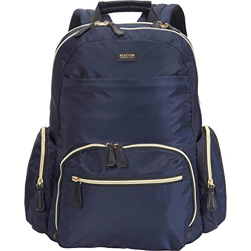 Kenneth Cole Reaction Women's Sophie Backpack Silky Nylon 15' Laptop & Tablet RFID Bookbag for School, Work, & Travel, Navy, One Size