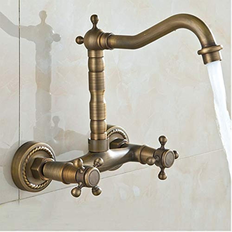 ETERNAL QUALITY Bad Waschbecken Wasserhahn Kupfer Heies Und Kaltes Wasser Antiken Zwei-Griff-Badewanne Wasserhahn