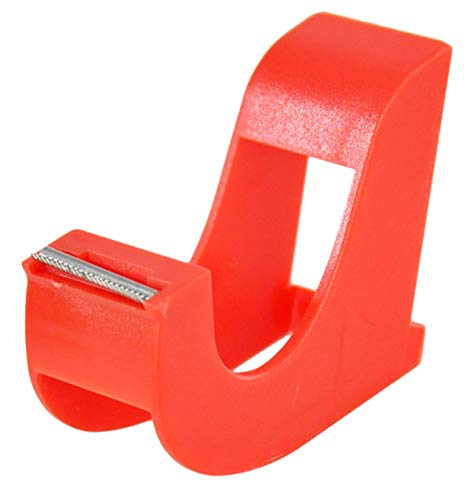 """HOME-X Small Hand-Held Tape Dispenser, Easy Desktop Office Supplies – Red 3"""" L x 2"""" W x 1"""" H"""