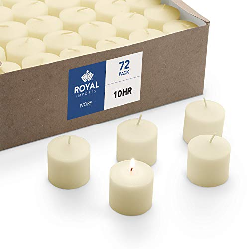 Votive Candle, Unscented Ivory Wax, Box of 72, for Wedding, Birthday, Holiday & Home Decoration (10 Hour) by Royal Imports
