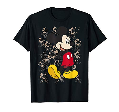 Disney Mickey Mouse Many Mickeys Background Graphic T-Shirt