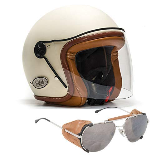 Baruffaldi Casco Moto Jet in Fibra Custom ZAR 2.0 Vintage Crema Bordo Cuoio e calotta verniciata. Visiera antigraffio Made in Italy - In omaggio l'occhiale da moto Annapurna Cuoio