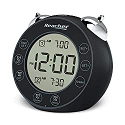 REACHER BellPro Twin Bell Alarm Clock Battery Operated - Small Clock with Dual Alarms, Backlight, 12H/24H Display, Non-Ticking, Snooze, Easy to Use Digital Clock for Bedrooms(Black)