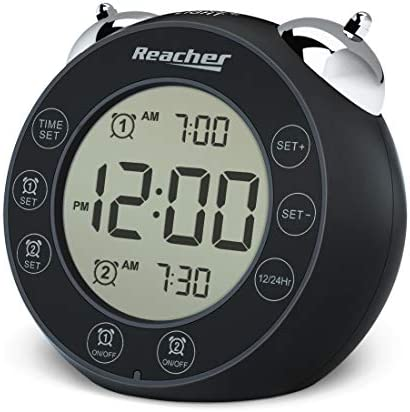 REACHER BellPro Twin Bell Alarm Clock Battery Operated Small Clock with Dual Alarms Backlight product image