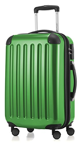 HAUPTSTADTKOFFER - Alex - Carry on luggage On-Board Suitcase Bag Hardside Spinner Trolley 4 Wheel Expandable, 55cm, green