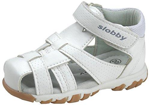 gibra® Trekking Sandalen für Babys und Kleinkinder, Art. 0047, mit Lederfußbett, weiß, Gr. 25