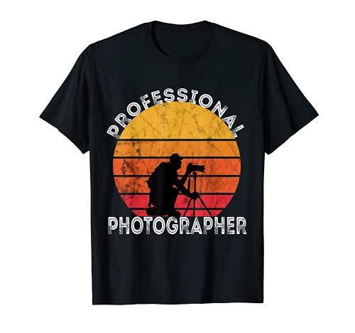 Fotógrafo profesional Retro Sunset Fotografía Cámara Camiseta