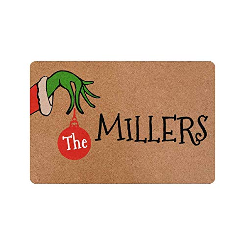 Personalized Christmas Doormat with Green Hands Custom Family Name 24