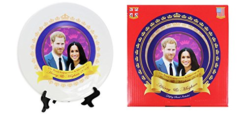 "Royal Wedding Commemorative 8"" Collectible Ceramic Plate with Stand & Printed Box - Prince Harry & Meghan"