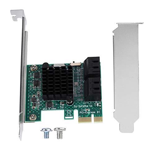 Phisscii Adaptador Tarjeta de expansión SATA-SATA 3.0 Adaptador de Tarjeta controladora de expansión PCIE de 4 Puertos a SATA 3.0 6G