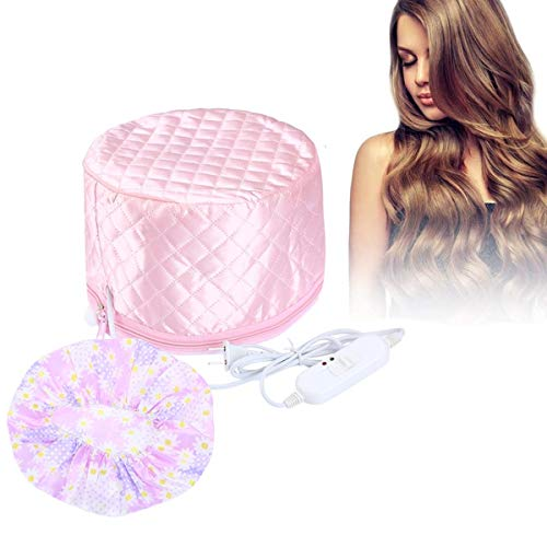 110V Electric Hair Cap Thermal Cap Hat Hair Thermal Treatment Cap with 2 Mode Temperature Control For Hair Spa Home Hair Thermal Treatment Nourishing Hair Care, Pink