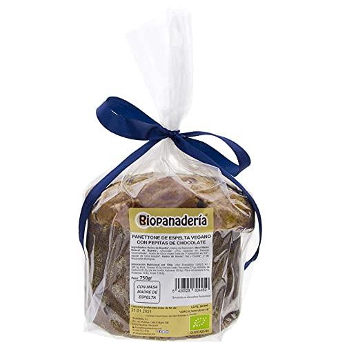 Biopanadería Panettone VEGANO de Espelta con Chocolate Ecológico 750g de Elaboración Artesanal