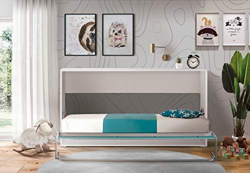 Cama Abatible Horizontal Plegable de Pared de 90x190 Color Blanco y Azul
