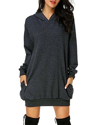 Auxo Damen Hoodie Kleid Pullover Langarm Sweatshirts Kapuzenpullover Tops Herbst Mini Kleid Dunkelgrau Medium