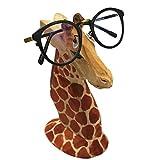 TIHOOD Creative Wood Hand Carved Eyeglass Holder Handmade Nose Giraffe Stand for Office Desk Home Decor Gift