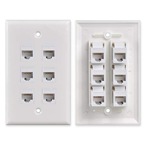 Conwork 6-Port CAT 6 Ethernet Wall Plate, RJ45 Ethernet Keystone...