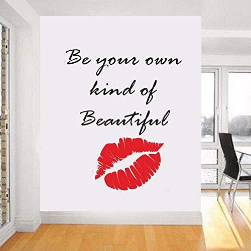 Ayhuir Citation De Maquillage Stickers Muraux Lèvres Décor Rouge À Lèvres Mascara Decal Beauté Salon Cosmétiques Maquillage Artiste Chambre Décor 56 Cm De Large X 69 Cm De Hauteur