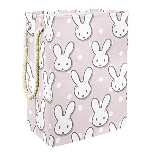 henghenghaha Süßer Kaninchen-Maulkorb und gepunkteter Wäschesammler, freistehender Wäschekorb mit langen Griffen zur Aufbewahrung von Kleidung, Spielzeug, großer faltbarer Wäschekorb
