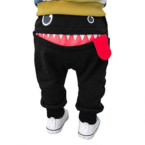 Pantalones Bebé Niños Niñas Chicas Dibujos Animados Tiburón Lengua Harem Pantalones (Negro, 6-12 Mes)