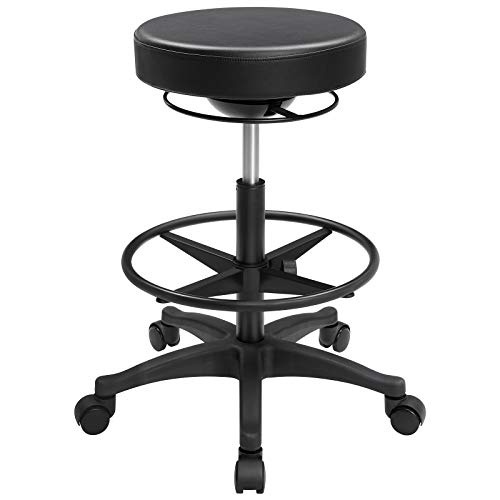 SONGMICS Office Stool Chair, Rolling Standing Stool, Ergonomic Wobble Stool with Adjustable Footrest, Swivel Adjustable Drafting Stool, 23.4-31.9 Inches, Black UOSC007B01