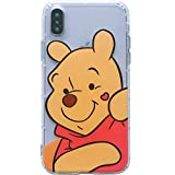 Ultra Slim Soft TPU Transparent Disney Winnie the Pooh Bear Case for iPhone XR 6.1 Clear Cartoon Red Love Finger Heart Cute Chic Lovely Clear Fun Cool Girls Women Teens Kids Daughter Son