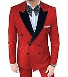 MoranX Men's Suits Casual Slim Fit 2 Pieces Double Breasted Velvet Peak Lapel Plain Prom Tuxedos Blazer Pants Wedding Grooms(Red,44)