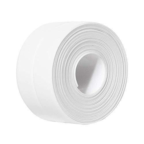 Caulk Tape PVC Self Adhesive Strip for Bathtub Bathroom Shower Toilet Kitchen and Wall Sealing 11 Ft Length (38 mm 1 Pack, White)