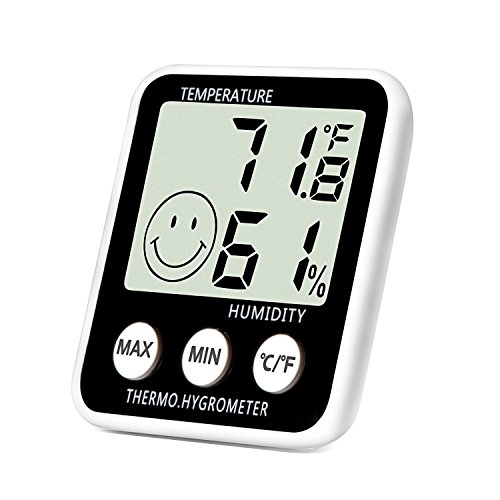 SoeKoa Digital Thermometer Indoor Hygrometer Humidity Meter Room Temperature Monitor Large LCD Display Max/Min Records for Home Car Office