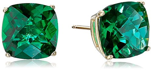 14k Yellow Gold Cushion-Cut Checkerboard Created Emerald Stud Earrings