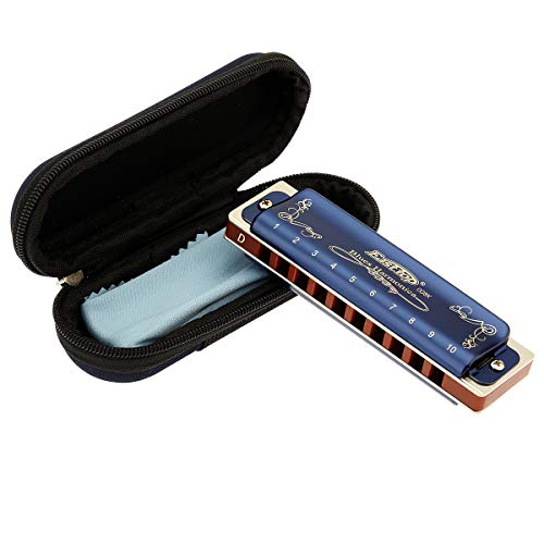 East top 10 Hole 20 Tone Diatonic Harmonica Key of D with Blue Case,Standard Harmonicas For Professional Player, Beginner, Students,Adults,Children, Kids,as Best Gift