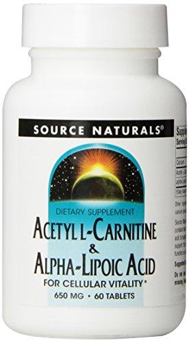 Source Naturals, Acetyl-L-Carnitin & Alpha-Liponsäure, 650mg, 60 Vegetarische Tabletten