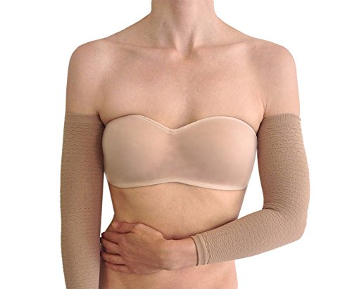BIOFLECT® Compression Arm Sleeves with Far Infrared Therapy and Micro-Massage Knit - for Slimming Support and Comfort - Lipedema, Lymphedema, Inflammation - Black