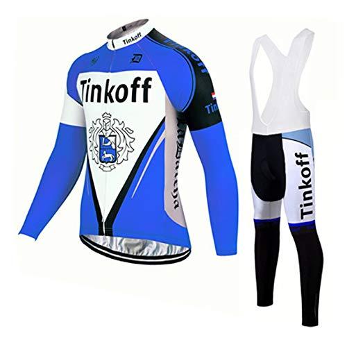 TOPBIKEB fietsshirt voor heren, lange mouwen, herfstfietskleding, set met kussen, gevoerde koersbroek