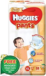 Huggies Gold Pants Diapers XL + FOC Wipes, 38ct