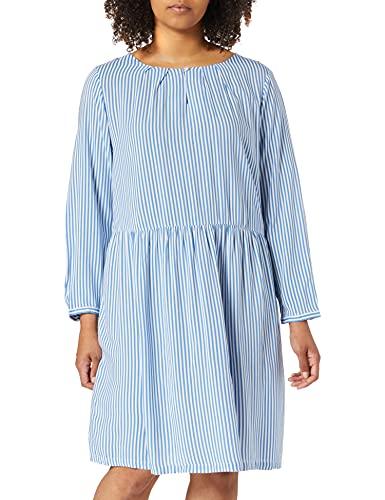 TOM TAILOR MY TRUE ME Damen 1024889 Plussize Print Kleid, 26482-Marina White Vertical, 50
