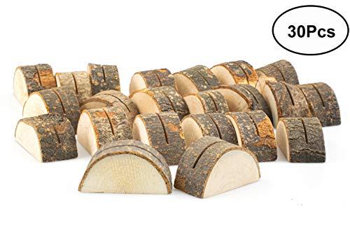 Tebery 30 Stück Holz Holzsteg Holz Runde Pfahl Form Tischnummer Halter Clip Foto Halter Tischkarte Halter Platzkartenhalter