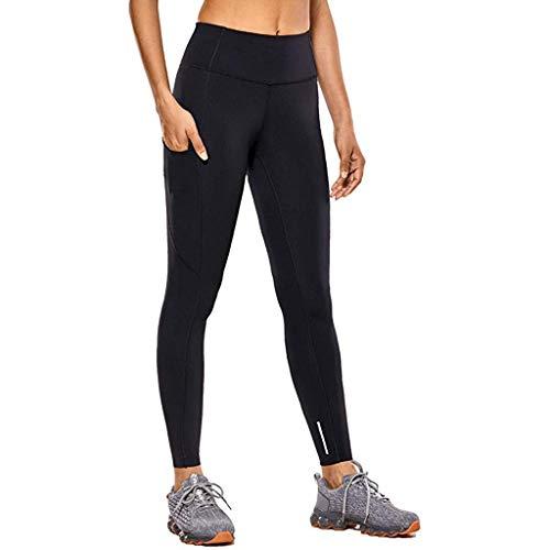 Sallyohno Jogginghose Winterreitleggings Damen Winter Reithose Leggings-Style für Damen, versch Thermo Fun Slim Fit Sport Fitnesstraining (S, Schwarz)