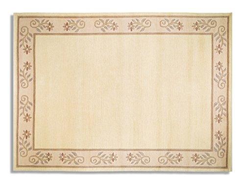 TITANIA SUPERB echter original handgeknüpfter Nepal Teppich in creme, Größe: 90x160 cm