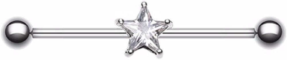 Covet Jewelry Gem Star Industrial Barbell