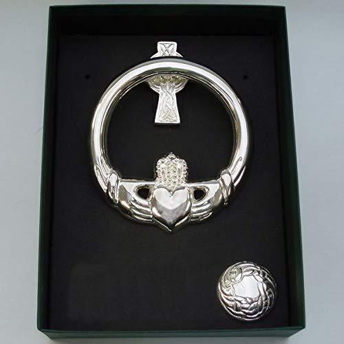 Robert Emmet Medium Brass Claddagh Door Knocker Cross Back Silver Plate