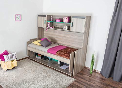 Kinderbett/Jugendbett mit Schreibtisch Funktion, Ablage und Aufsatz Marcel 19, Farbe: Esche Türkis/Grau/Braun - Liegefläche: 90 x 200 cm (B x L)