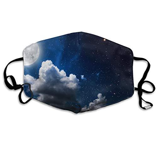 Houity stofdicht wasbaar, maan wolken donkere hemel behang, zacht, ademend, wasbaar, knop verstelbaar, geschikt voor mannen en vrouwen