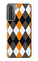 JP342121P 黒 オレンジ 白 アーガイルプラッド Black Orange White Argyle Plaid Samsung Galaxy S21 Plus 5G, Galaxy S21+ 5G ケース