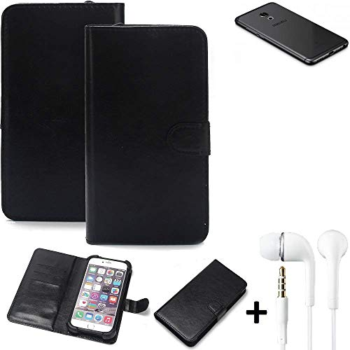 K-S-Trade® Wallet Case Handy Hülle Für Meizu Pro 6S Schutz Hülle Smartphone Flip Cover Flipstyle Tasche Schutzhülle Flipcover Slim Bumper Schwarz + In Ear Headphones