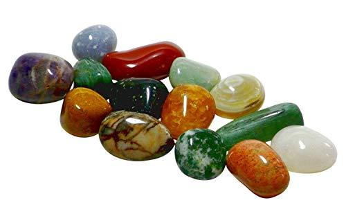Echte Halbedelsteine (12 Stück) - u.a Bergkristall, Sodalith und roter Jaspis - 2-3cm groß - mit Spieleanleitung