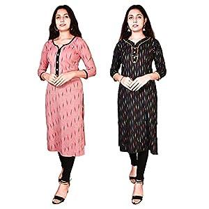 Riyashree Women Cotton Straight A-Line Kurta Kurti for Women Stylish Latest Combo (Pack of 2) WKURTI 021 042